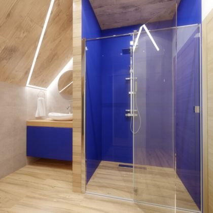 Dark Blue Acrylic Shower Panels