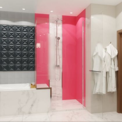 Pink Acrylic Shower Panels